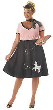 Adult 50s Grease Sock Hop Poodle Skirt Costume Halloween Plus Sz