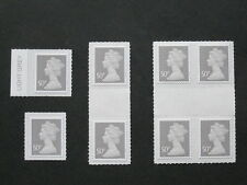 U2911 50p Grey Singles, Gutter Pairs, Blocks, Colour TABS Security Overprint DLR