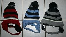 NEW Boys THE CHILDRENS PLACE Striped Knit Hats w/Ear Flaps ~Var Colors~Inf & Tod