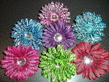 WHOLESALE gerbera DAISY flower GERBER zebra 4 inch HAIR BOW pin up headband hat