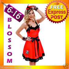 G17 Ladies 50s Red Retro Swing Pin Up Vintage Rockabilly Fancy Dress Up Costume