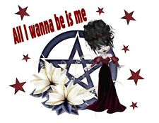 Custom Made T Shirt Pretty All Wanna Be Is Me Wiccan Pentagram Choice Goth NWOT