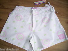 Joules cotton white flower print shorts summer 10 12 14 16 18 NEW