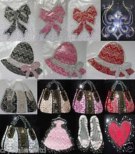 LACE NET RHINESTONE MOTIF IRON-ON HOTFIX DIAMANTE BEAD DIY TSHIRT TRANSFER PATCH
