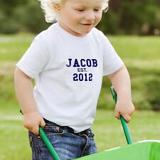 Personalised Name Established Est. Blue Text T-Shirt All Children's Kids Sizes