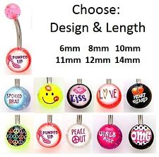 Logo Belly Bar - 6mm 8mm 10mm 12mm or 14mm - Love, Peace, OMG, Kiss, Smiley etc