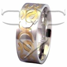 New Stainless Steel Gold Aum Engraved Ring Om Band Rings Size 7.5, 9, 11, 13