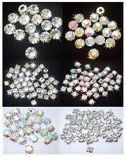 STITCH-ON GLASS CHATON CLAW CRYSTAL GEM beads BLING WEDDING bridal dress making
