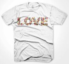 Mens Funny Tshirts Love Made With Flowers White T-Shirt Various Sizes
