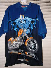 NWT MALIBU DREAMS MOTORCYCLE HAWAIIAN SHIRT #4 ORANGE FLAME CHOPPER u pic size