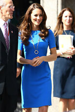 Elegant Princess Kate Royal Grace Cady Blue Olympic Stretch Bandage Dress Casual