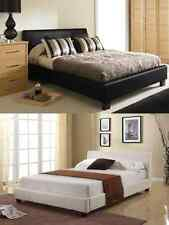 4FT6 DOUBLE 5FT KING SIZE BLACK BROWN OR WHITE FAUX LEATHER BED & MATTRESS DEAL