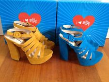 NEW $79 I LOVE BILLY Avril Platforms Blue or Yellow High Block Heels Sandals