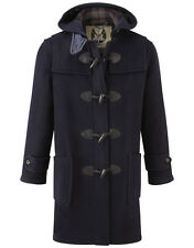 British Duffle Men's Long Duffle Coat - Navy