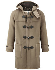 British Duffle Men's Long Duffle Coat - Camel