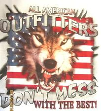 NEW! DONT MESS WITH THE BEST Patriotic USA Flag Wolve T-Shirt SIZE M - 2X