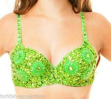 Sequined Belly Dance Costume Bra Top Dancing Apparel Clothing Fancy Outfit Wear