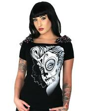 TOO FAST GOTHIC PUNK EMO ROCKABILLY T SHIRT ANNABEL BOW SKULL BLUE SKULLS DEAD