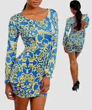 SEXY BODYCOM DRESS ATTACHED CUT OUT SLEEVES JRS MULTI-COLOR ABSTRACT PRINT