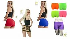 Womens Girls Ladies Stretchy Hot Pants Neon Colours & Sizes Dance Gym Clubbing