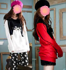 Women Girls Loose Casual Cat Pattern Round Neck Long Sleeve Knitted Sweater Hot