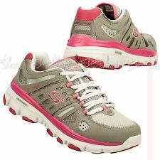 Women's SKECHERS 11624R GYHP BRAVOS Photo Finish Shoes Sneakers Gray- Pink New