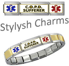 COPD SUFFERER MEDICAL ID 9mm+ Italian Charm GOLD TONE CTR MATTE Starter Bracelet