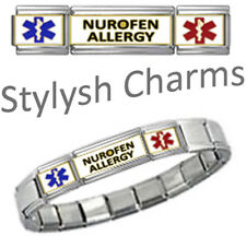 NUROFEN ALLERGY MEDICAL ID 9mm+ Italian Charm SILVER TONE SHINY Starter Bracelet