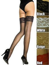 Lace Top Back Seam Sheer Nylon Thigh High Stockings Plus Size OS Queen NWT 4119