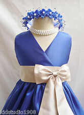 #  VN ROYAL BLUE CHAMPAGNE EASTER GOWN FLOWER GIRL DRESS 1 2 4 6 8 10 12 14