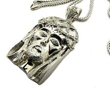 "Franco Chain 36"" Jesus Piece Pendant Hip Hop Iced Out CZ Crystal Gold Finish Men"