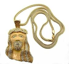 Crystals Pendant Franco Chain Hip Hop Iced Out Jesus Piece Religious Necklace