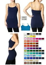 NEW WOMEN LONG CAMI CAMISOLE COTTON SPANDEX BUILT IN BRA SHELF TANK TOP S-L