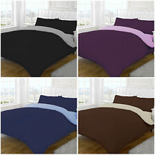 REVERSIBLE POLY COTTON BEDDING Plain Duvet Cover Bed Set Quilt Cover