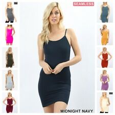 SEAMLESS SLIP CAMISOLE MINI DRESS Extra LONG tunic REG N PLUS TANK TOP 21 COLORS