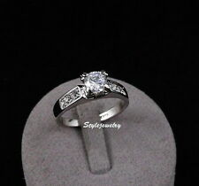 White Gold Plated Made with Swarovski Crystal Wedding Engagement Ring R19