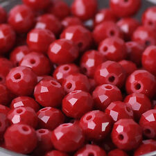 Faceted Glass Crystal Rondelle Loose Finding Spacer Bead Jad Opaque Red 3~12mm