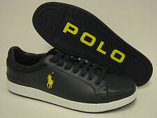 NEW Mens POLO Ralph Lauren Talbert Navy Blue Yellow Leather Sneakers Shoes