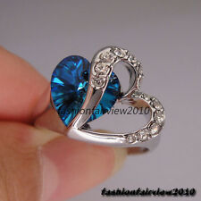 18K White Gold GP Swarovski Crystals Heart with Sapphire Blue Stone Ring IR036A