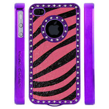 Gem Crystal Rhinestone Pink Black Shimmer Zebra Leather Case For Apple iPhone 4