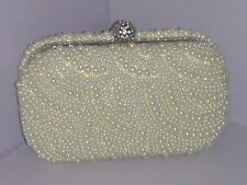 Wave Pattern Pearls Beaded Crystals Clasp Cocktail Boxes Evening Bag