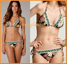 $170 Trina Turk Nandini Triangle Top & Tie Side Bottom Swimsuit Bikini Set 6 2pc