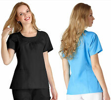 Womens Scoop Neck Gathered Smock Medical Nursing Scrub Top NWT 14 COLORS! XS-3XL
