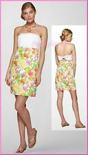 $198 Lilly Pulitzer Franco Multi Lilly Fields Forever Strapless Dress 96291