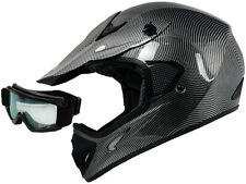 Carbon Fiber Dirt Bike ATV Motocross Off-Road MX Helmet+Googles~S/M/L/XL