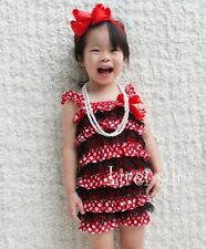 Baby Girls Minnie Mouse Red Polka Dots Black Lace Petti Posh Romper NB-3Y RST23