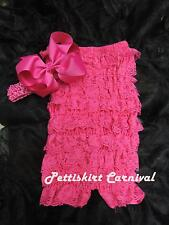 Newborn Baby Girls Hot Pink Lace Petti Rompers Huge Bow Headband 2pc Set