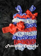 Baby Girl Blue Star Red White Lace Petti Rompers Straps Bow Headband 2pc