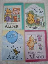 Personalised Winnie The Pooh Birthday Cards Selected Names A to I