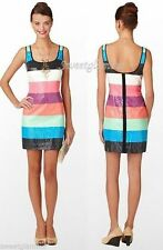 $258 Lilly Pulitzer 38386 Lucy Multi Printed Sequin Colorblock Stripes Dress